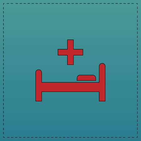 Hospital bed Red vector icon with black contour line. Flat computer symbol on blue background Illustration