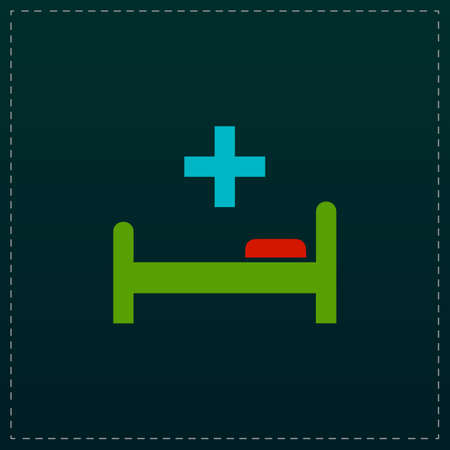 surgery stretcher: Hospital bed and cross. Color symbol icon on black background. Vector illustration