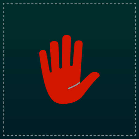 pictorial art: Stop - hand Color symbol icon on black background Vector illustration