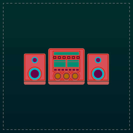 am radio: Stereo system. Color symbol icon on black background. Vector illustration