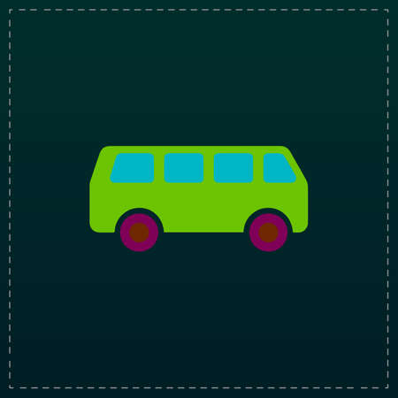 career coach: Minibus. Color symbol icon on black background. Vector illustration