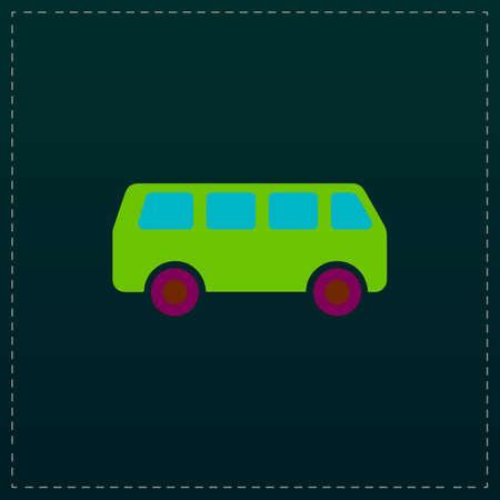 family van: Minibus. Color symbol icon on black background. Vector illustration