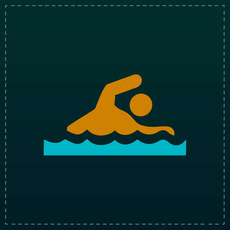 Swimming. Color symbol icon on black background. Vector illustration Illustration