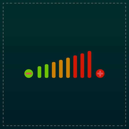 Volume adjustment. Color symbol icon on black background. Vector illustration