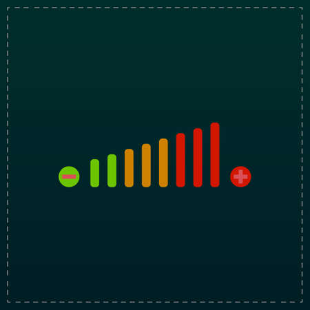 Volume adjustment. Color symbol icon on black background. Vector illustration