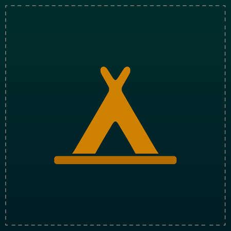 Wigwam. Color symbol icon on black background. Vector illustration