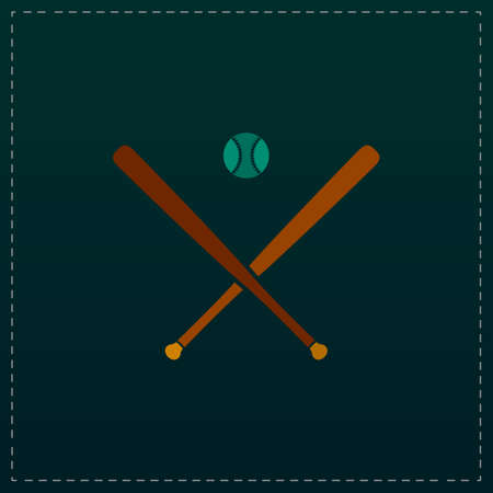 outfield: Crossed baseball bats and ball. Color symbol icon on black background. Vector illustration