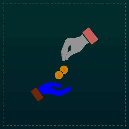 avarice: Hands Giving and Receiving Money. Color symbol icon on black background. Vector illustration