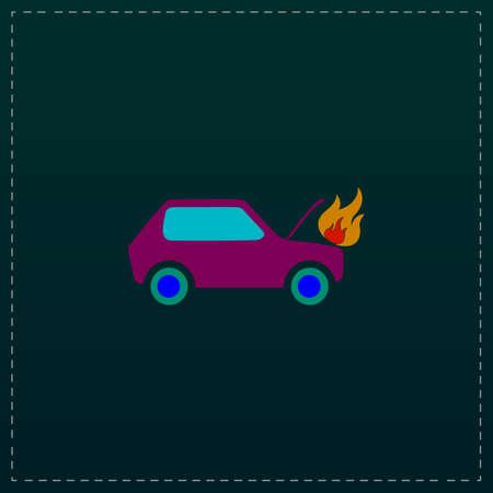 insure: Car fired. Color symbol icon on black background. Vector illustration
