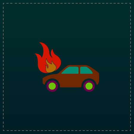 demolishing: Car fire. Color symbol icon on black background. Vector illustration