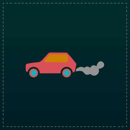 Car emits carbon dioxide. Color symbol icon on black background. Vector illustration Illustration