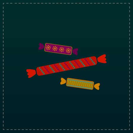 chew: Three Candy. Color symbol icon on black background. Vector illustration Illustration
