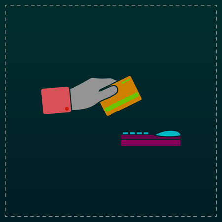 checking accounts: Hand swiping a credit card. Color symbol icon on black background. Vector illustration