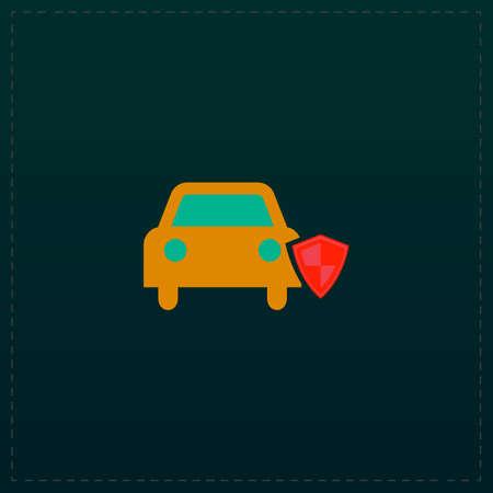 Protege tu auto Icono de símbolo de color sobre fondo negro. Ilustración vectorial