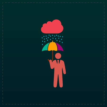 Businessman with umbrella protect from rain. Color symbol icon on black background. Vector illustration Vetores