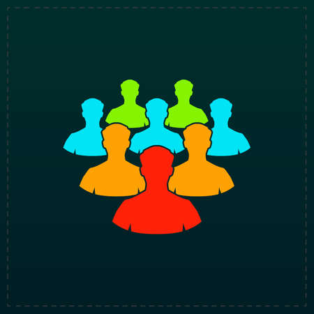 Crowd of people. Color symbol icon on black background. Vector illustration
