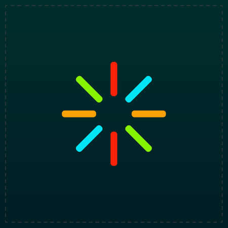 Waiting, Streaming, Buffering, Play, Go. please wait. Color symbol icon on black background. Vector illustration