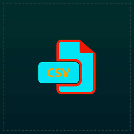 CSV extension text file type. Color symbol icon on black background. Vector illustration Illustration