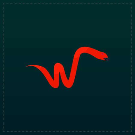 year of snake: Snake. Color symbol icon on black background. Vector illustration Illustration