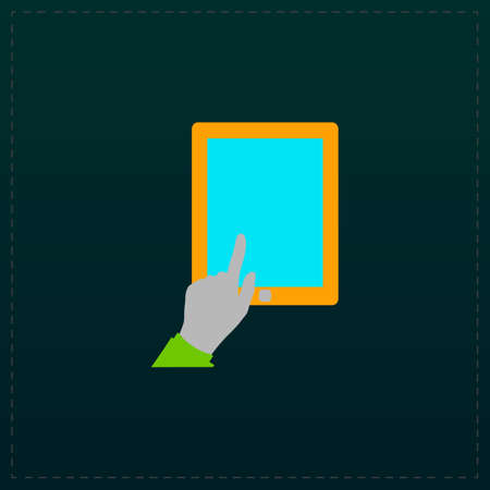 forefinger: Touch screen tablet. Color symbol icon on black background. Vector illustration