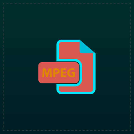 wmv: MPEG video file extension. Color symbol icon on black background. Vector illustration