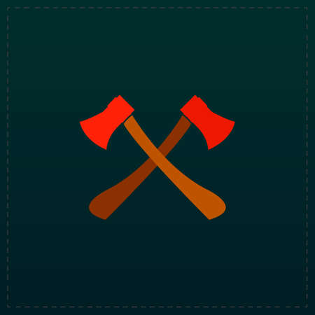 Two axes with wooden handles. Color symbol icon on black background. Vector illustration
