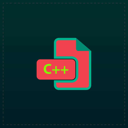 slash: C development file format. Color symbol icon on black background. Vector illustration Illustration