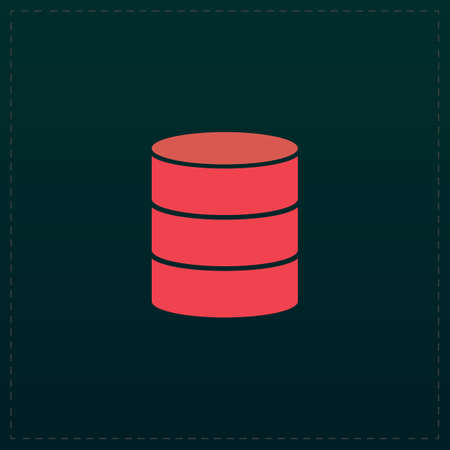 Database. Color symbol icon on black background. Vector illustration
