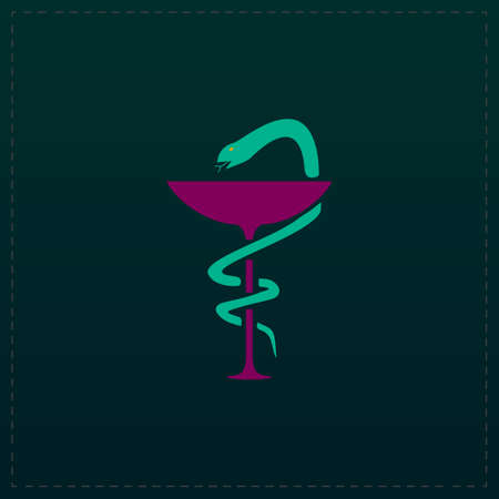 Pharmacy with caduceus, bowl with a snake. Color symbol icon on black background. Vector illustration
