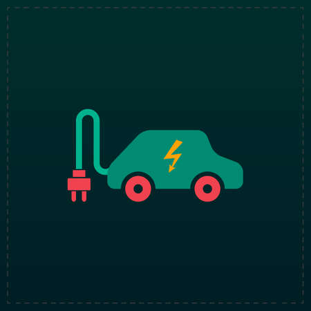 Electric car. Color symbol icon on black background. Vector illustration
