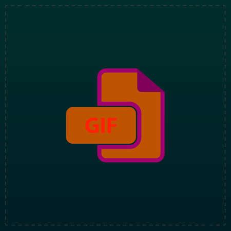 GIF image file extension. Color symbol icon on black background. Vector illustration Illustration