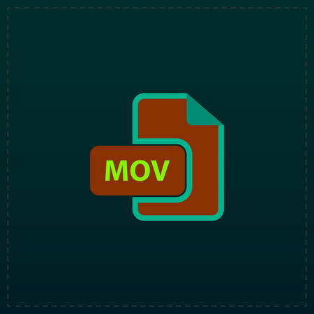 mpg: MOV video file extension. Color symbol icon on black background. Vector illustration