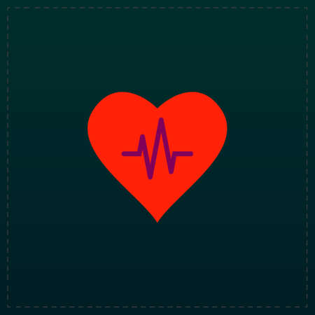 cardiograph: Heart with cardiogram. Color symbol icon on black background. Vector illustration
