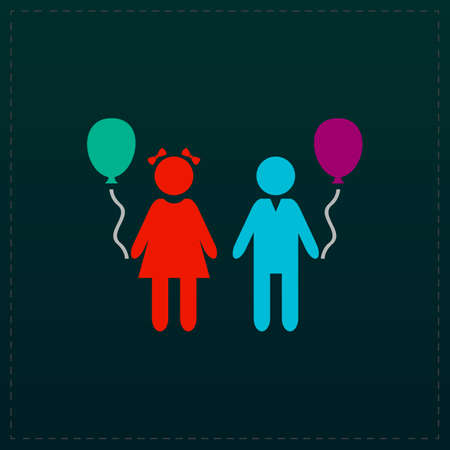 hot couple: Children and Balloon. Color symbol icon on black background. Vector illustration Illustration