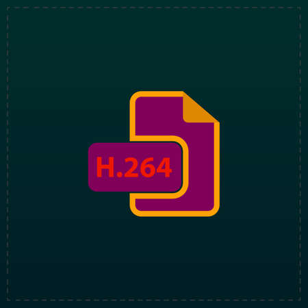 avi: H264 video file extension. Color symbol icon on black background. Vector illustration