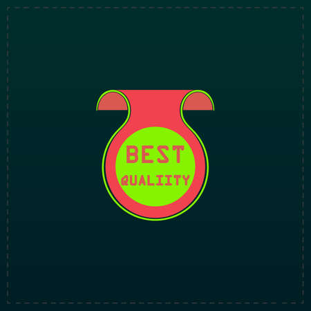 Best Quality Badge, Label or Sticker. Color symbol icon on black background. Vector illustration