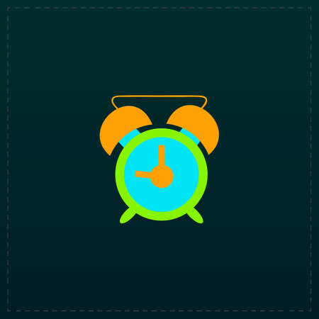 Time - alarm. Color symbol icon on black background. Vector illustration