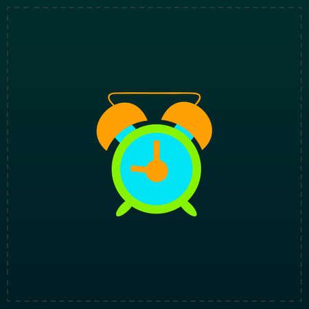 Time - alarm. Color symbol icon on black background. Vector illustration