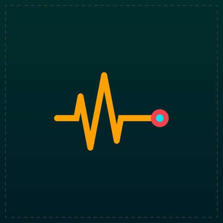 Life line - Heart beat, cardiogram. Color symbol icon on black background. Vector illustration