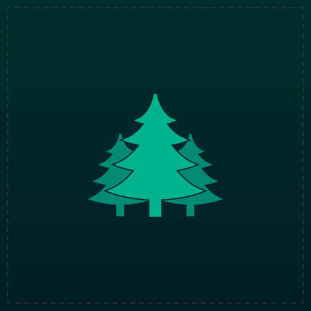 coppice: Tree, Christmas fir tree. Color symbol icon on black background. Vector illustration Illustration