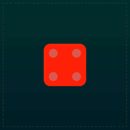 backgammon: One dices - side with 4. Color symbol icon on black background. Vector illustration