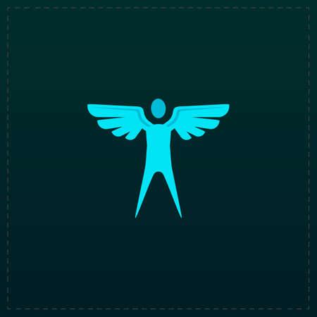 icarus: Winged man. Color symbol icon on black . Vector illustration