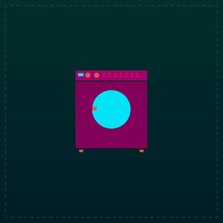 fully automatic: Washing machine. Color symbol icon on black background. Vector illustration