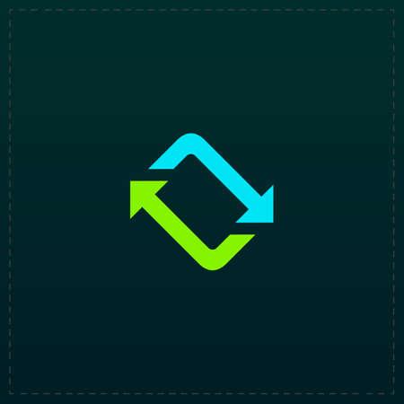 gyration: Spinning, rotating arrows. Color symbol icon on black background. Vector illustration Illustration