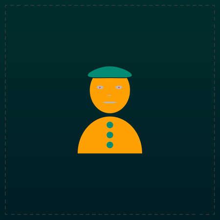 Asian man. Color symbol icon on black background. Vector illustration Illustration