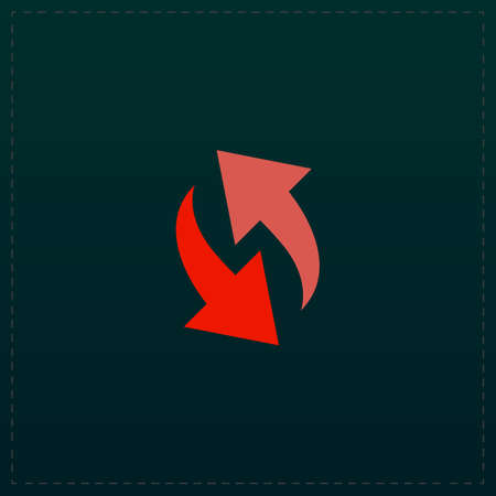 Rounded two arrows. Color symbol icon on black background. Vector illustration