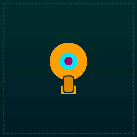 Web camera. Color symbol icon on black background. Vector illustration