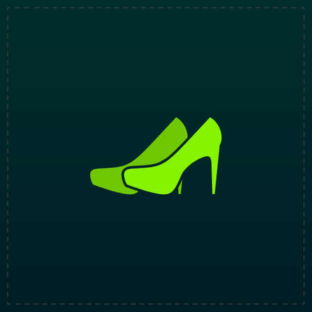 Pair of shoes. Color symbol icon on black background. Vector illustration