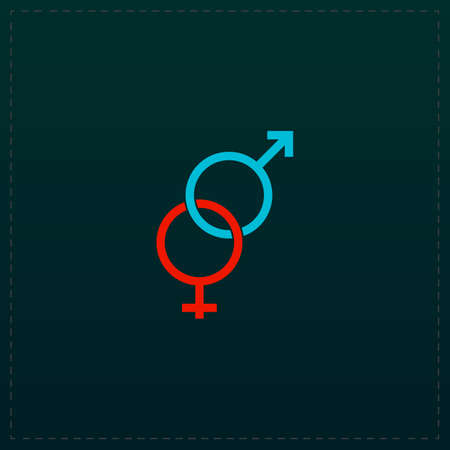 Twisted male and female sex symbol. Color symbol icon on black background. Vector illustration