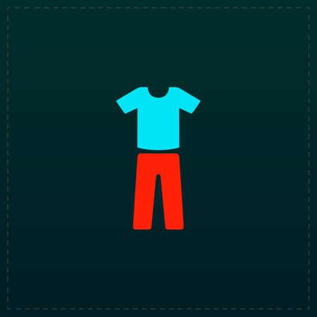 Uniform - pants and t-shirt. Color symbol icon on black background. Vector illustration